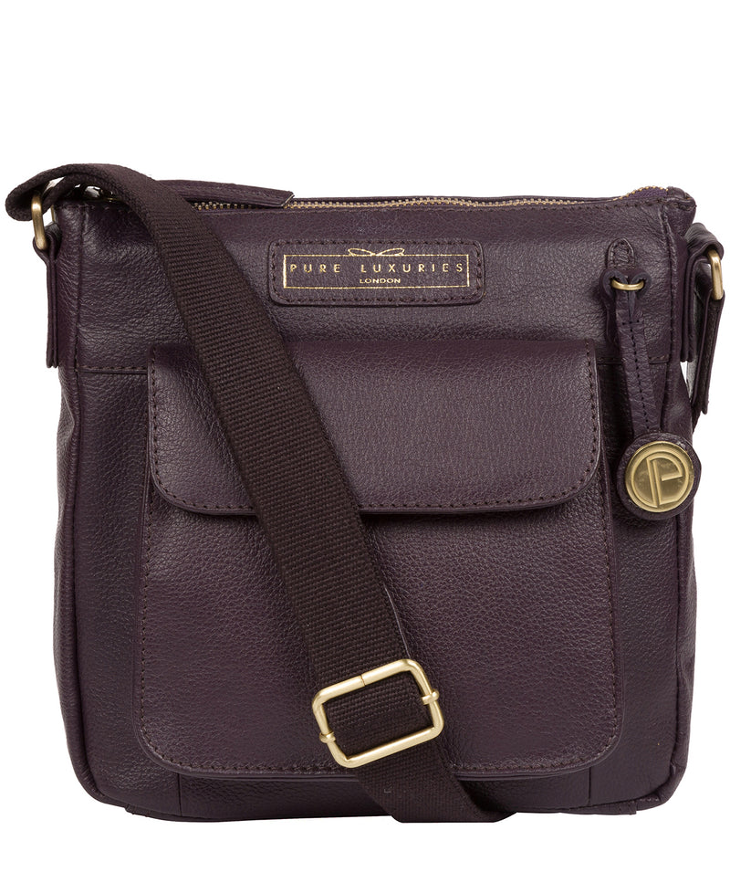 'Mayfield' Plum Leather Cross Body Bag image 1
