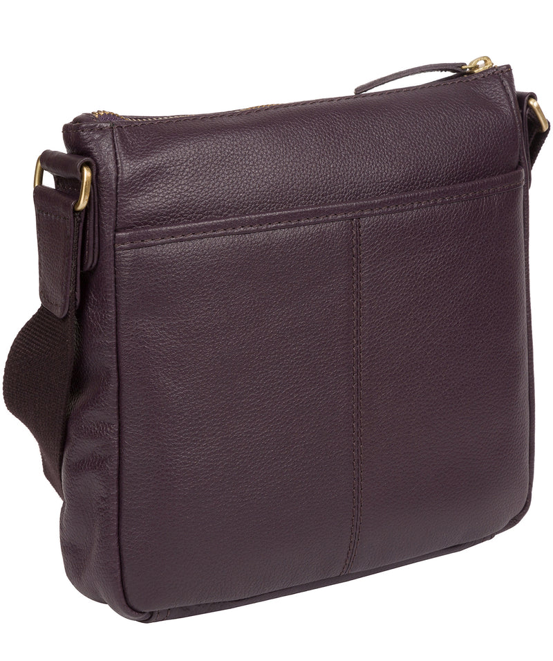 'Mayfield' Plum Leather Cross Body Bag Pure Luxuries London