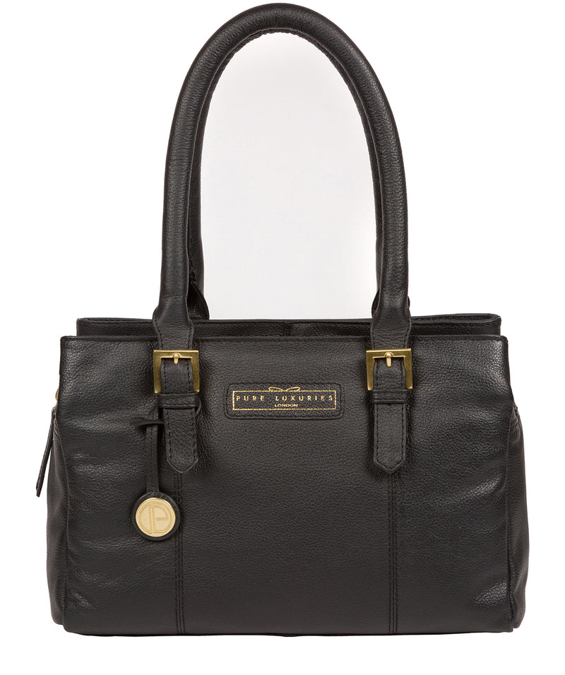 'Avebury' Black & Gold Leather Handbag image 1