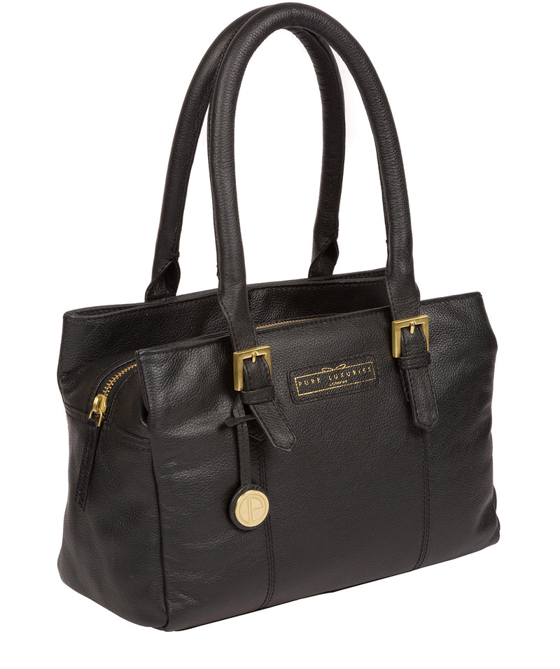 'Avebury' Black & Gold Leather Handbag image 3