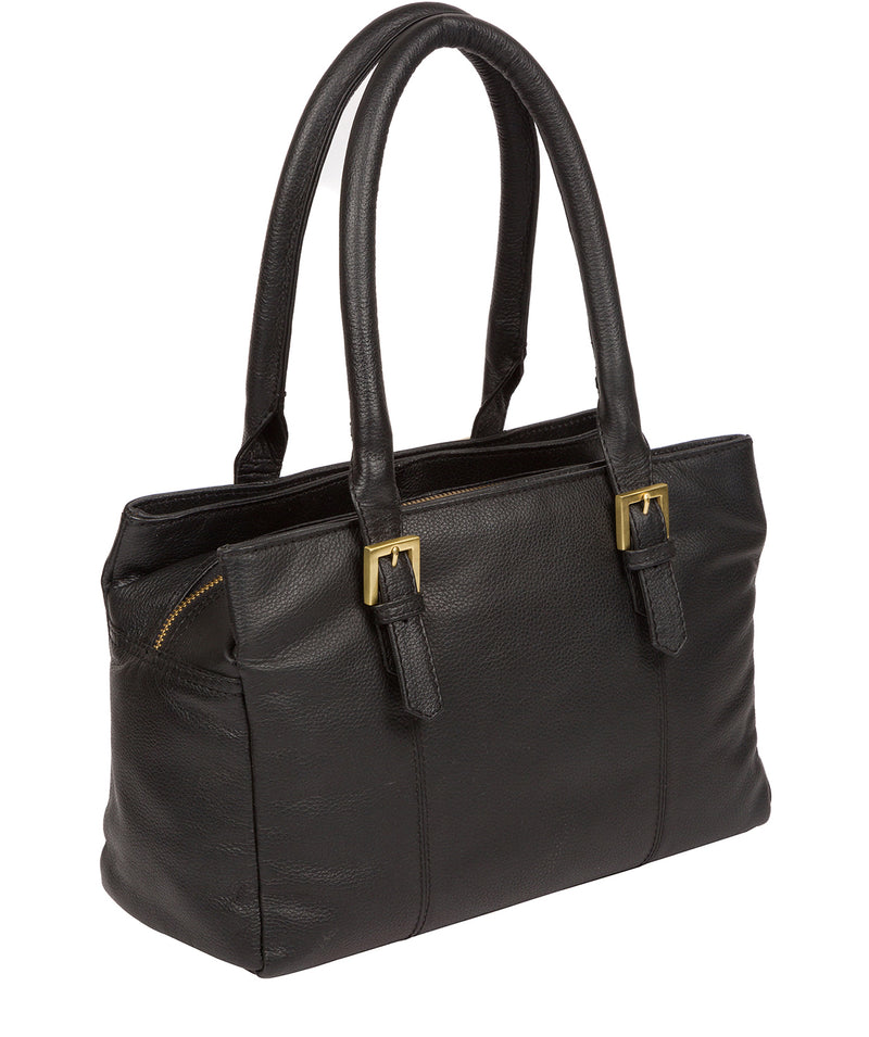 'Avebury' Black & Gold Leather Handbag image 4