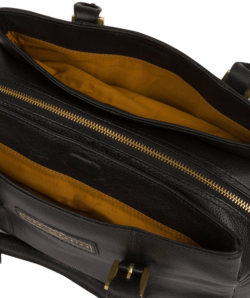 'Avebury' Black & Gold Leather Handbag image 6