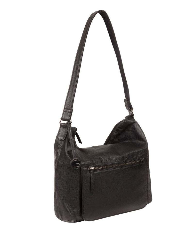 'Tadley' Black & Silver Leather Shoulder Bag