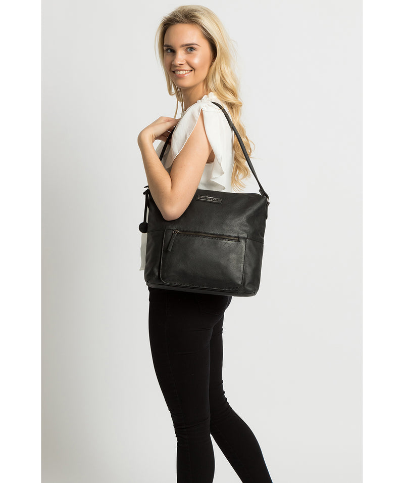 'Tadley' Black & Silver Leather Shoulder Bag image 2