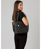 'Spalding' Black & Gold Leather Tote Bag image 2