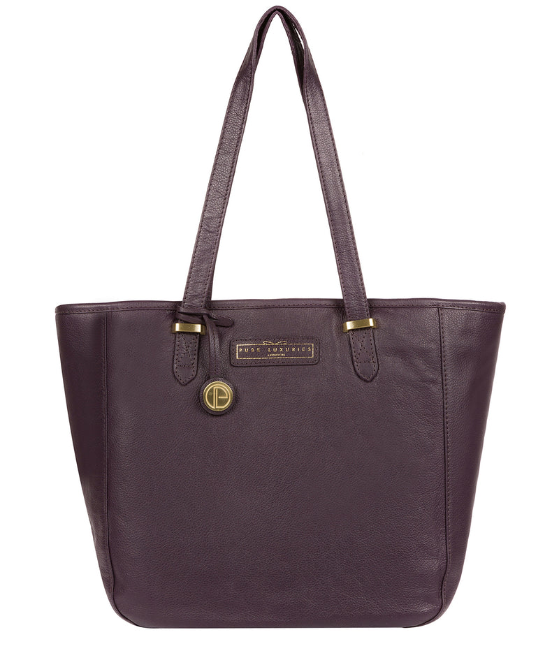 'Spalding' Plum Leather Tote Bag image 1