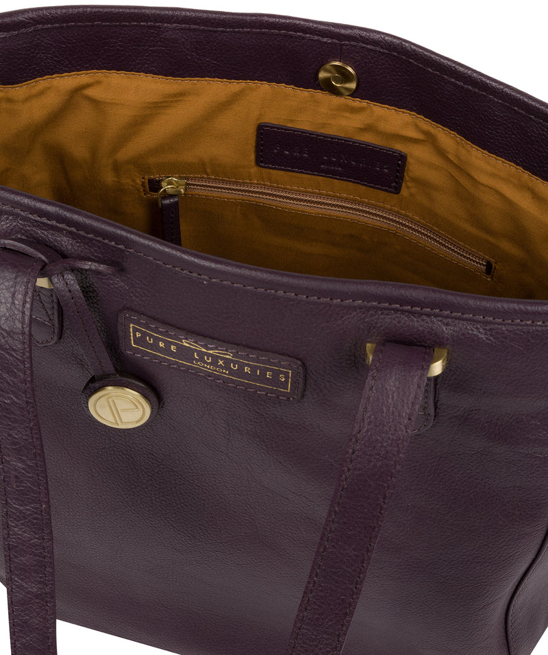 'Spalding' Plum Leather Tote Bag image 4