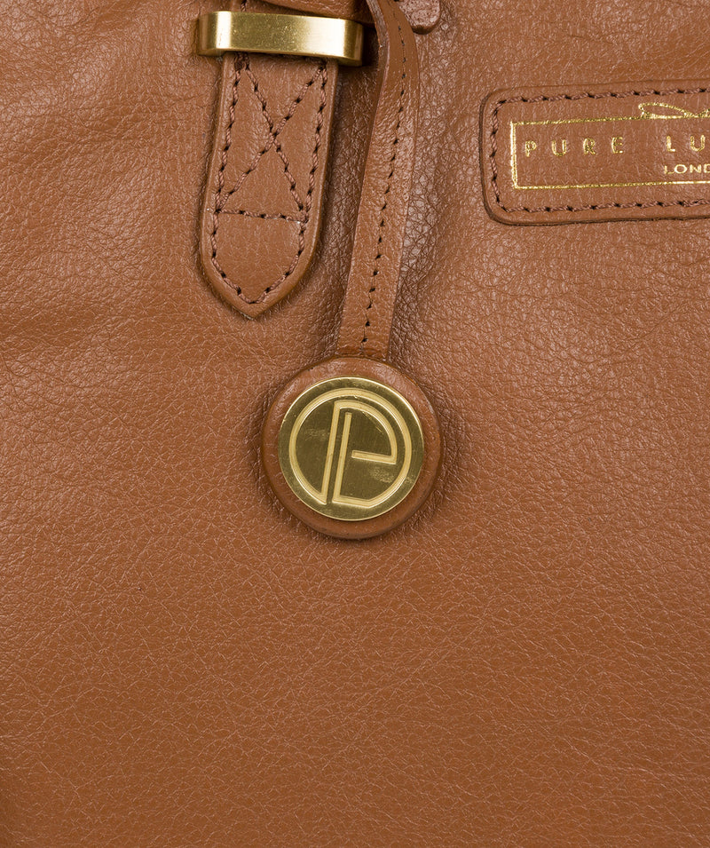 'Spalding' Tan Leather Tote Bag image 5