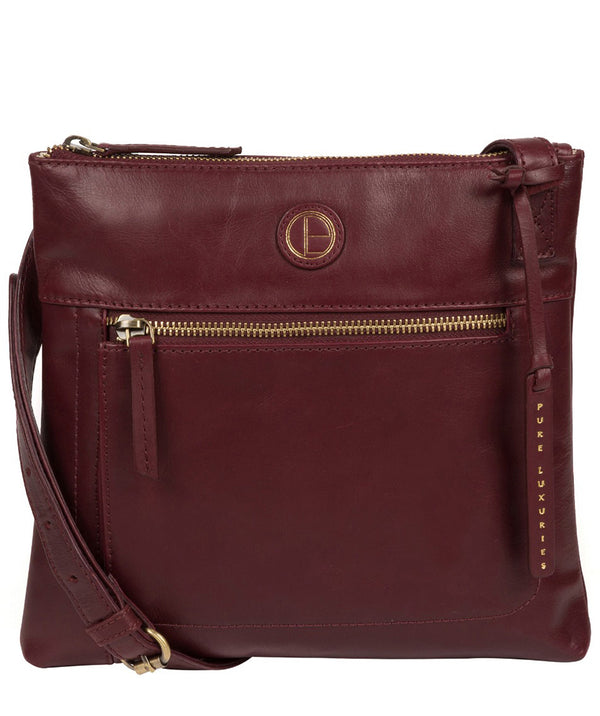 'Valley' Burgundy Leather Cross Body Bag image 1