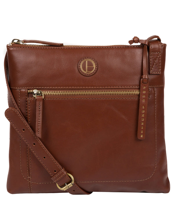 'Valley' Vintage Cognac Leather Cross Body Bag image 1
