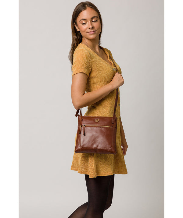 'Valley' Vintage Cognac Leather Cross Body Bag image 2