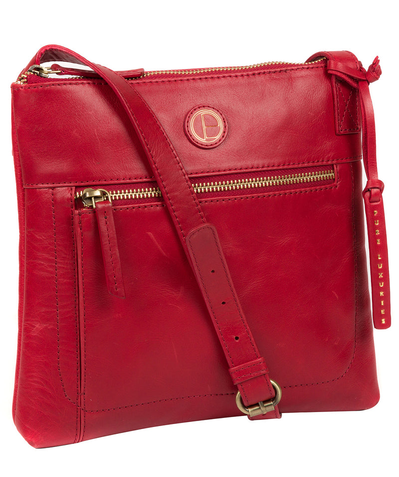 'Valley' Vintage Red Leather Cross Body Bag image 5