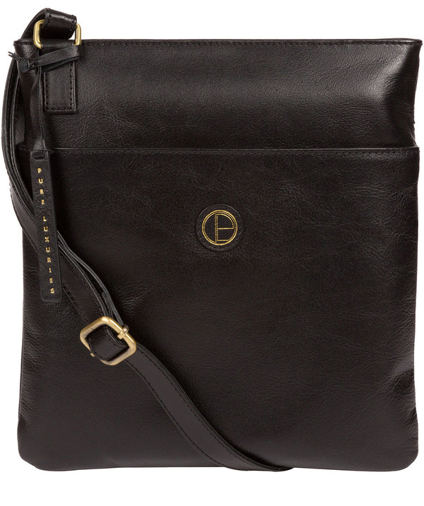'Foxton' Vintage Black Leather Cross Body Bag image 1