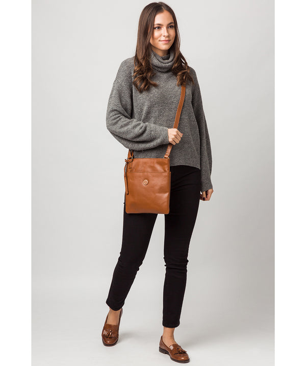 'Foxton' Vintage Dark Tan Leather Cross Body Bag
