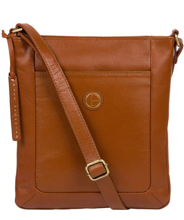 'Bythorn' Vintage Dark Tan Leather Cross Body Bag Pure Luxuries London
