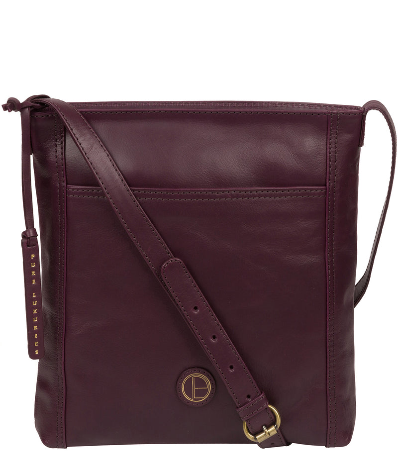 'Plumpton' Blackberry Leather Cross Body Bag image 1