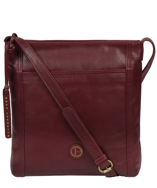 'Plumpton' Burgundy Leather Cross Body Bag image 1