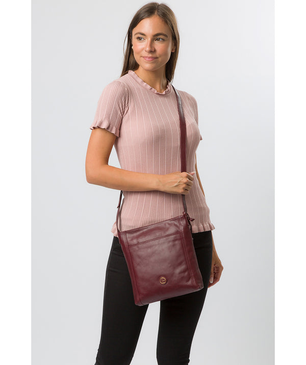 'Plumpton' Burgundy Leather Cross Body Bag image 2