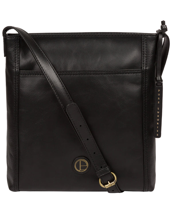 'Plumpton' Vintage Black Leather Cross Body Bag image 1