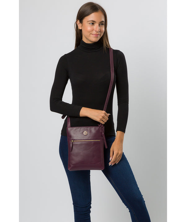 'Knook' Blackberry Leather Cross Body Bag Pure Luxuries London