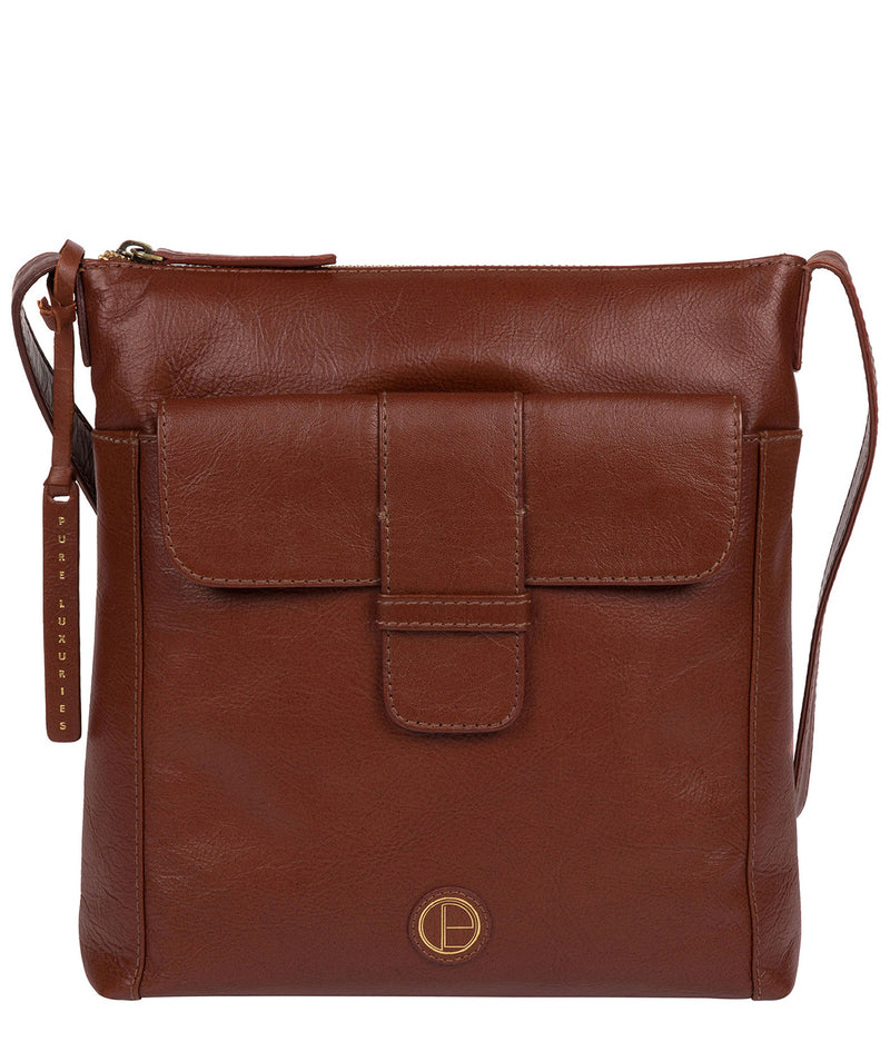 'Lancaster' Vintage Cognac Leather Cross Body Bag image 1