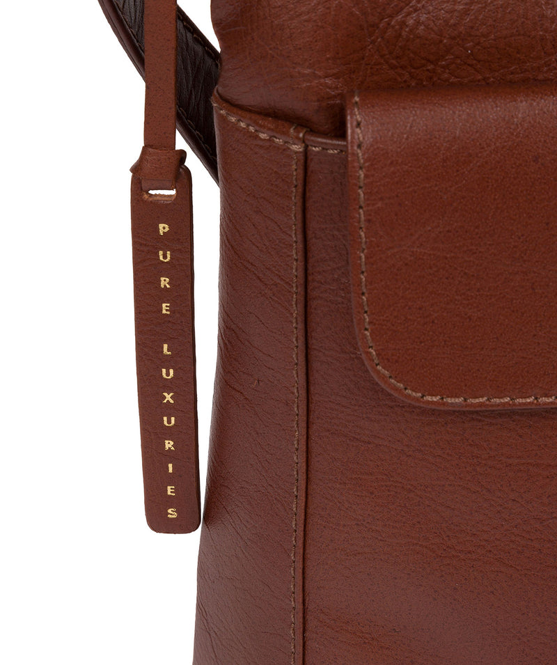 'Lancaster' Vintage Cognac Leather Cross Body Bag image 6
