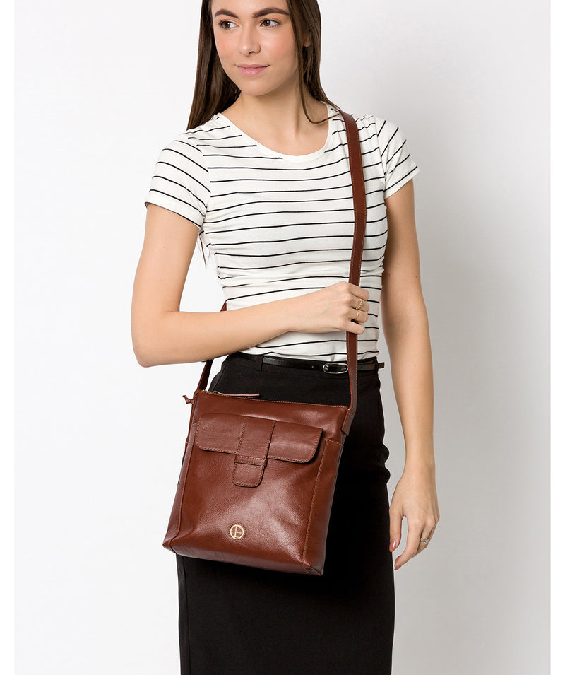 'Lancaster' Vintage Cognac Leather Cross Body Bag image 2