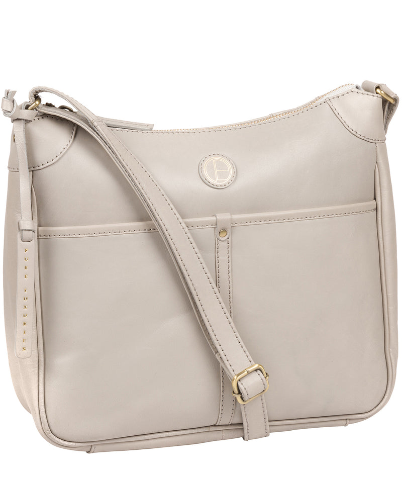 'Clovely' Dove Grey Leather Cross Body Bag image 5