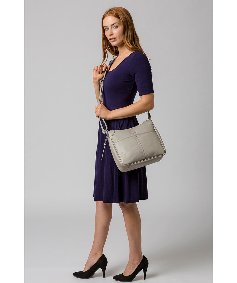 'Clovely' Dove Grey Leather Cross Body Bag image 2