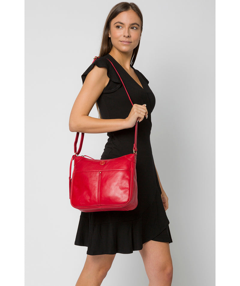'Clovely' Vintage Red Leather Cross Body Bag image 2