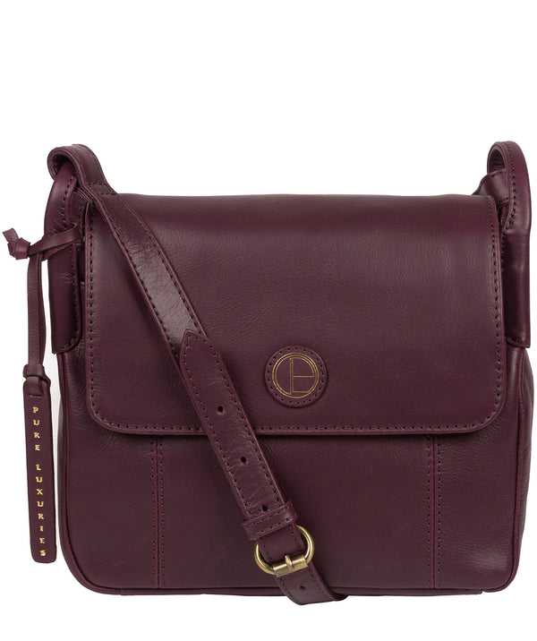 'Houghton' Blackberry Leather Cross Body Bag image 1