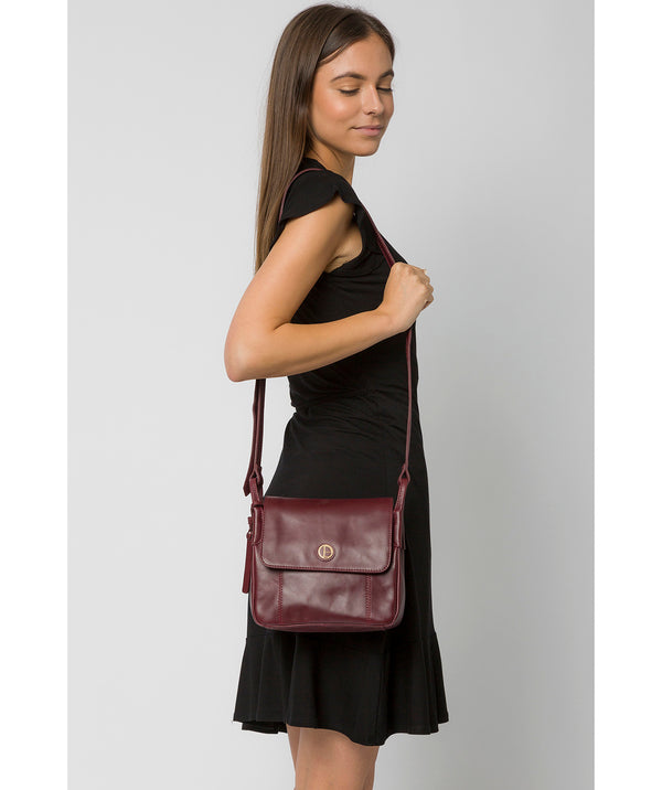 'Houghton' Burgundy Leather Cross Body Bag image 2