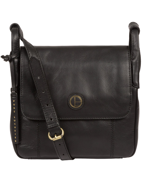 'Houghton' Vintage Black Leather Cross Body Bag Pure Luxuries London