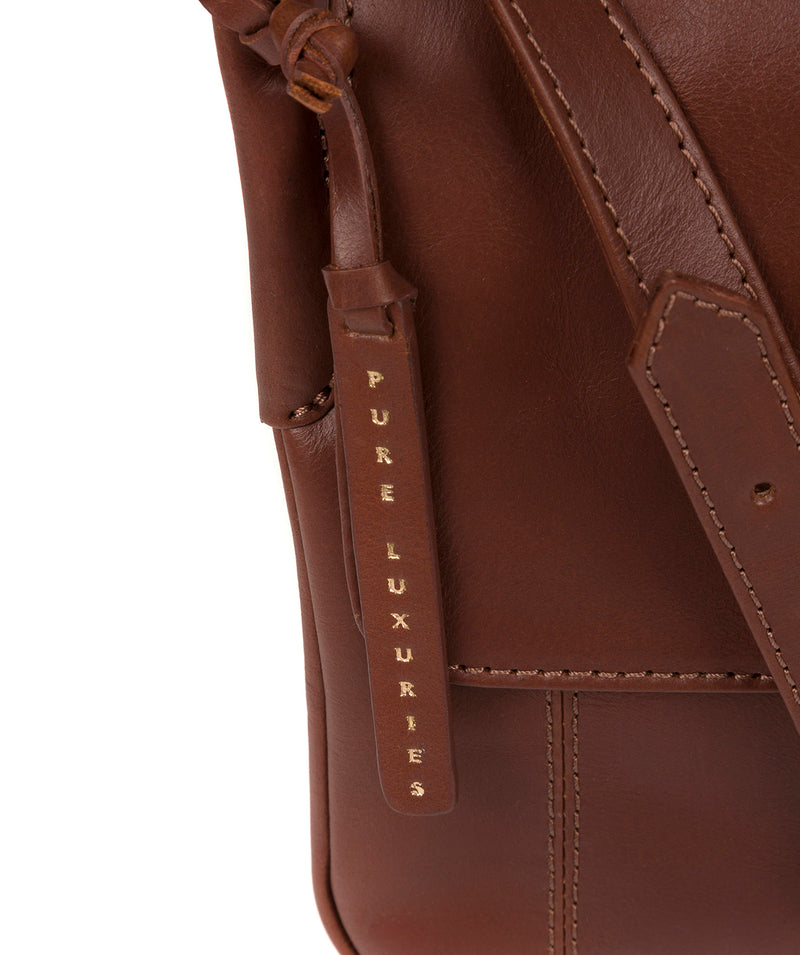 'Houghton' Vintage Cognac Leather Cross Body Bag image 6