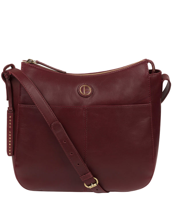 'Farlow' Burgundy Leather Shoulder Bag Pure Luxuries London