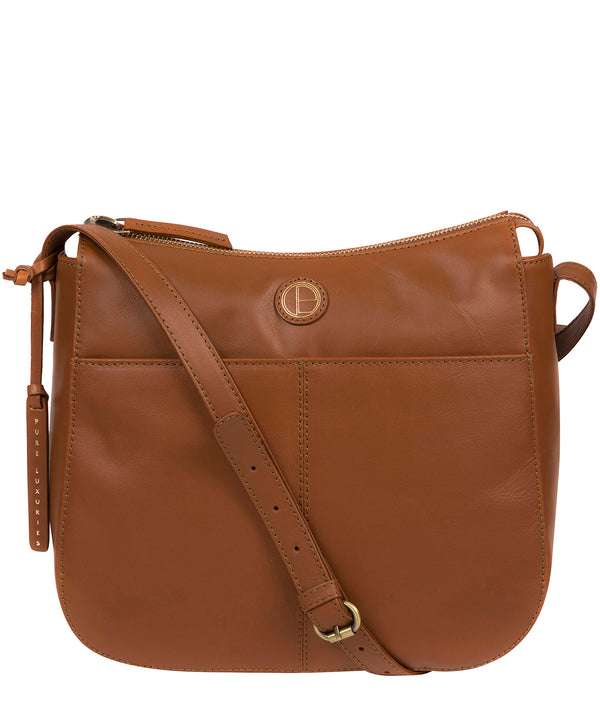 'Farlow' Vintage Dark Tan Leather Shoulder Bag image 1
