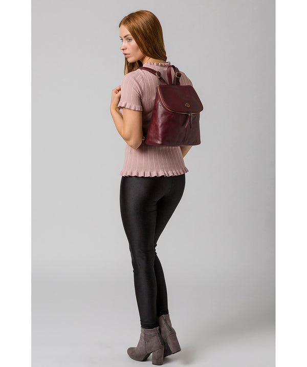 'Marbury' Burgundy Leather Backpack image 2