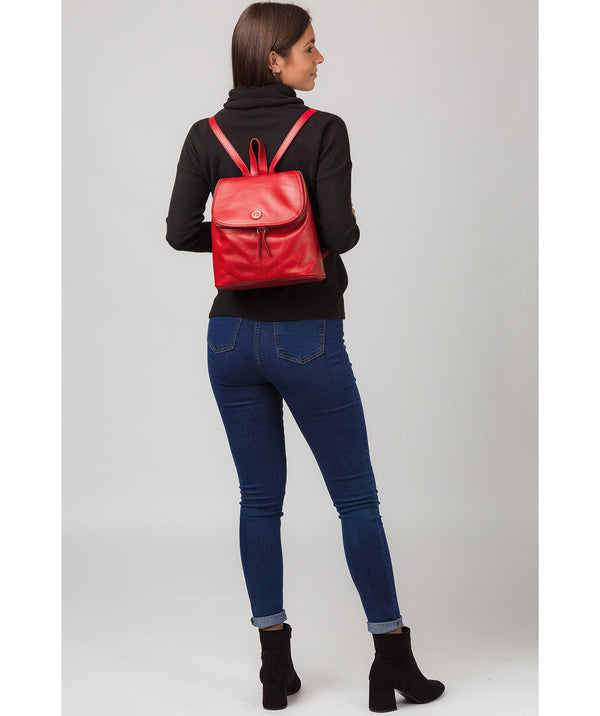 'Marbury' Vintage Red Leather Backpack