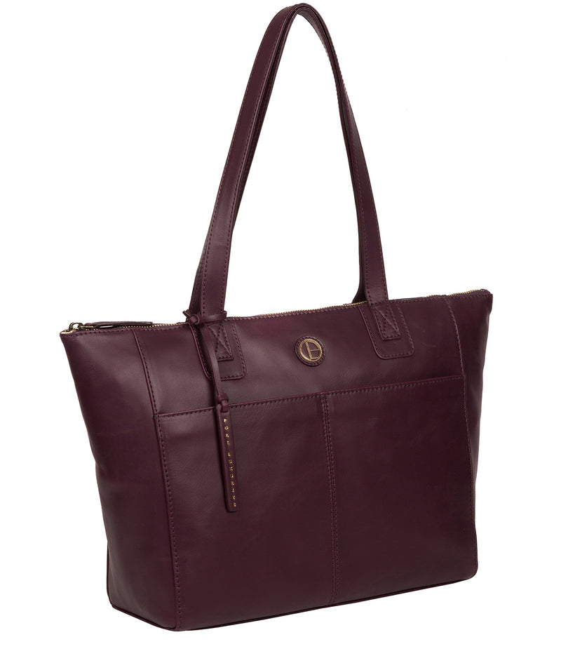 'Gwent' Blackberry Leather Tote Bag image 5