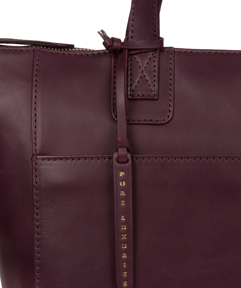 'Gwent' Blackberry Leather Tote Bag image 6