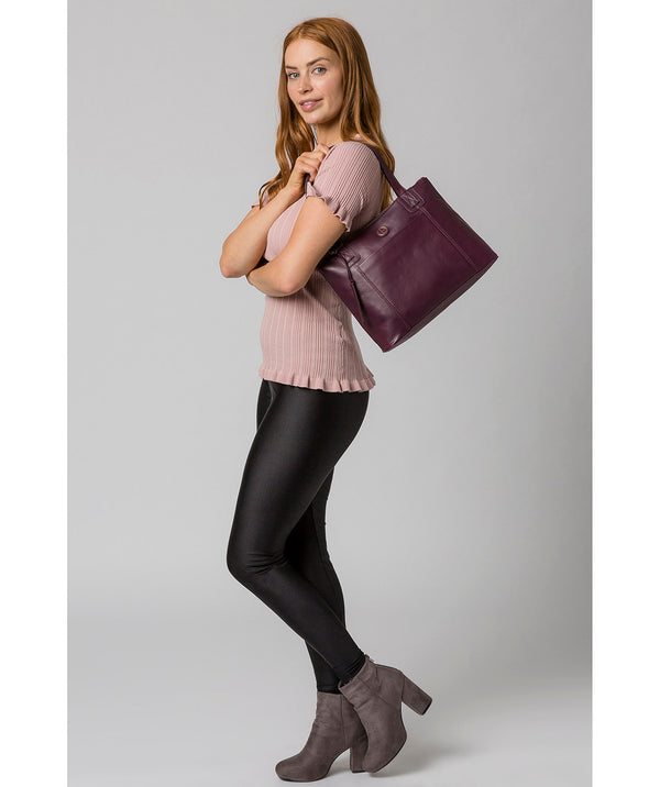 'Newark' Blackberry Leather Handbag Pure Luxuries London