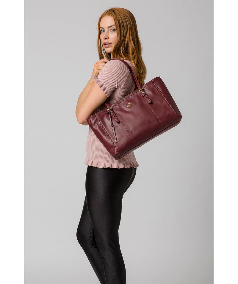 'Wollerton' Burgundy Leather Tote Bag image 7