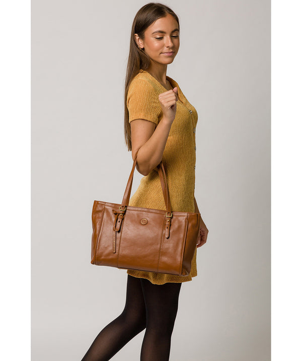 'Wollerton' Vintage Dark Tan Leather Tote Bag image 2
