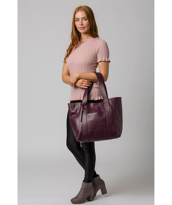 'Cranbrook' Blackberry Leather Tote Bag image 2
