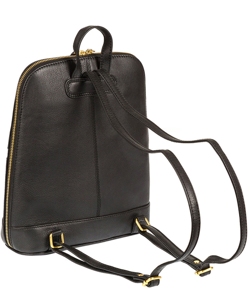 'Ava' Black Cowhide Leather Backpack
