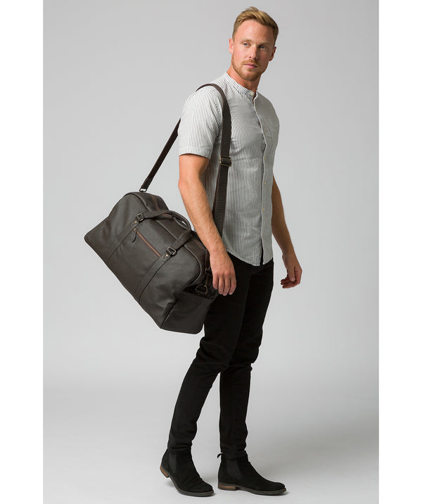 'Drake' Brown Leather Holdall image 2