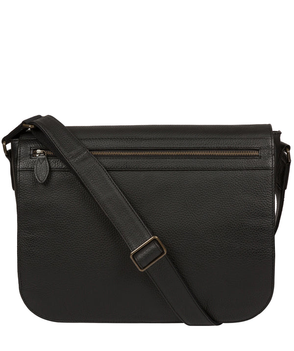 'Lawrence' Black Leather Messenger Bag