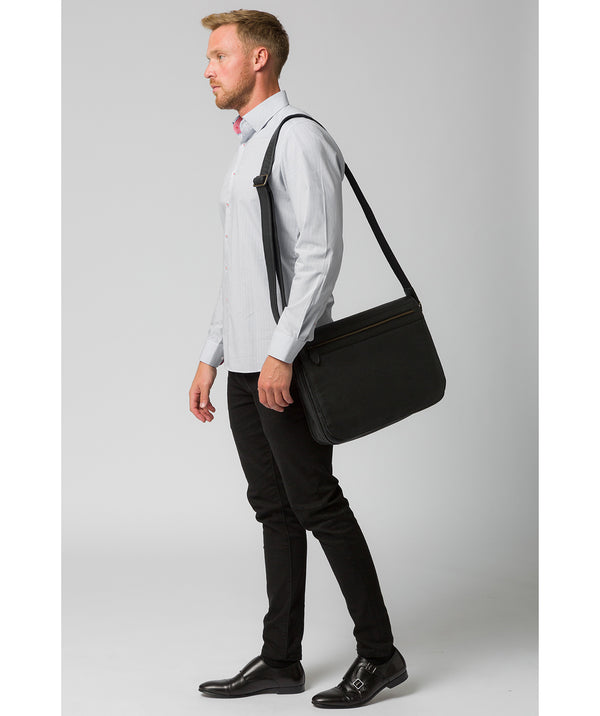 'Lawrence' Black Leather Messenger Bag image 2