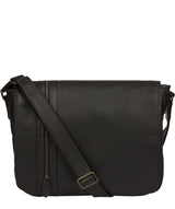 'Byron' Black Leather Messenger Bag image 1