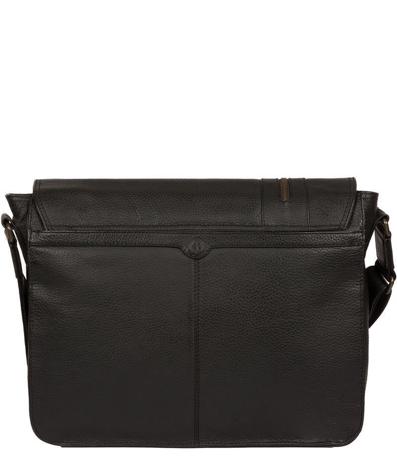 'Byron' Black Leather Messenger Bag image 3